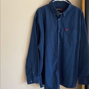 Arias Fire Resistance navy patterned button down